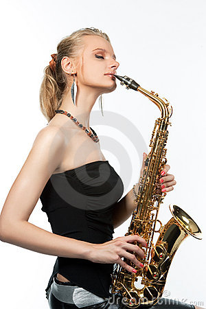 Dreaming sensual sexy blonde with saxophone