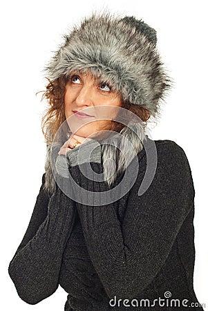 Dreaming winter woman