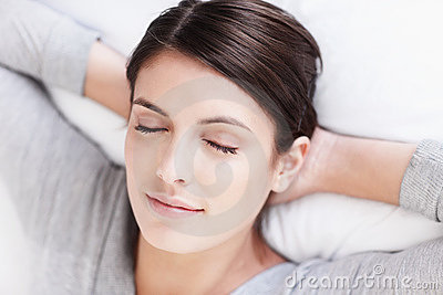 Dreaming young attractive young female s face