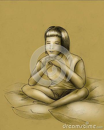 Dreams or meditation - sketch