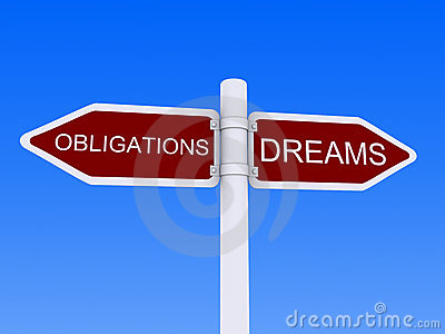 Dreams Obligations sign post