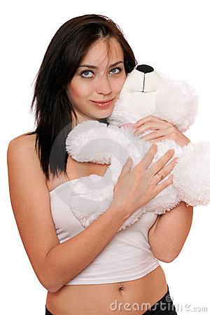 Dreamy cute girl with a teddybear