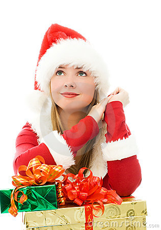 Free Dreamy Girl With Christmas Presents Royalty Free Stock Photos - 6829078