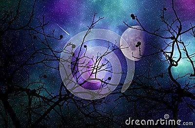 Dreamy night sky Stock Photo