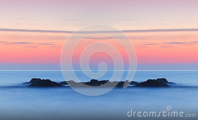 Dreamy tranquil seascape sunset