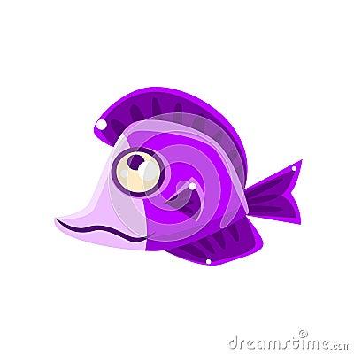 Free Dreamy Violet Fantastic Aquarium Tropical Fish Cartoon Character Stock Photo - 80310760