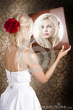 Free Dreamy Woman Looking At Mirror Reflection Royalty Free Stock Photography - 31334067