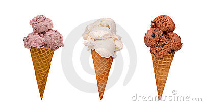 Drei Eiscreme-Kegel