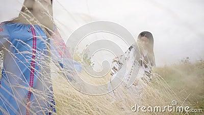 Drei Freundinnen in den schönen langen Sommerkleidern mit der Stickerei, die auf dem Gebiet gehend durch das Feld springt stock video footage