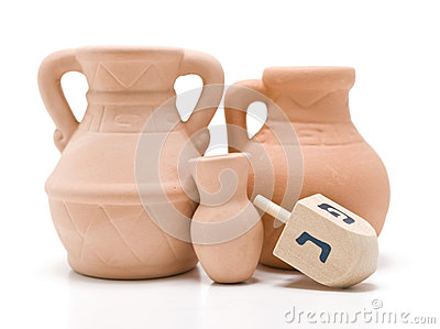 Dreidel and Oil Jug