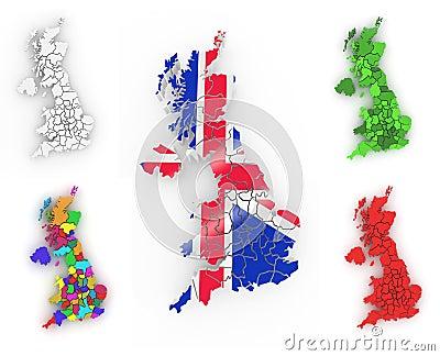 Dreidimensionale Karte von Großbritannien