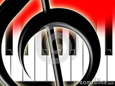 Dreifacher Clef und Tasten des Klaviers