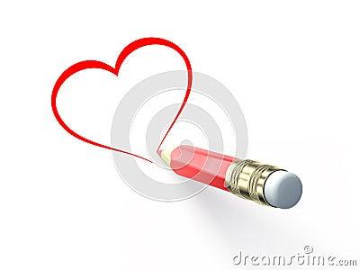 Drenaje del lápiz el corazón
