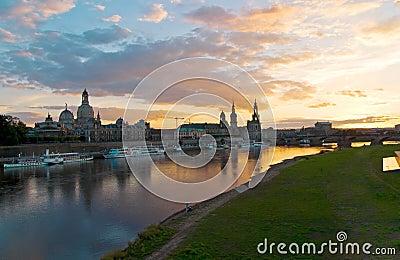 Dresden altstadt sunset
