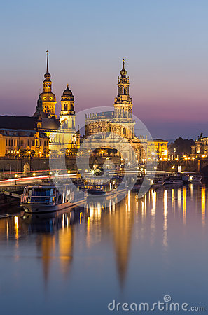 Free Dresden Evening Skyline-vertical View-Bruehl Terrace, Hofkirche Church, Royal Palace Royalty Free Stock Images - 59888059