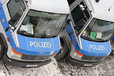 Dresden, February 13 - German police cars Editorial Photography