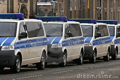 Dresden, February 13 - German police cars Editorial Stock Photo