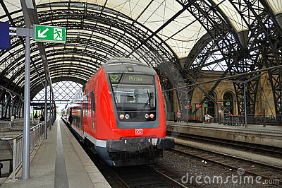 Dresden Hauptbahnhof - train platform Editorial Stock Photo