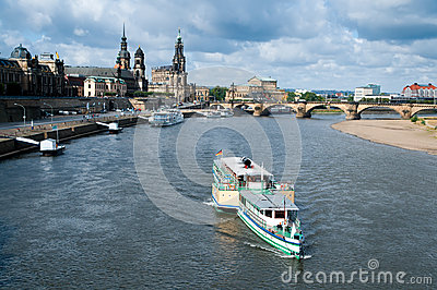Dresden Old Town across the water