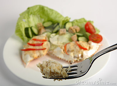 Dressed crab on a fork