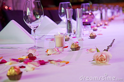 Dressed restaurant table for special occasion
