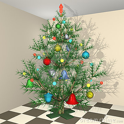 The dressed up New Year s Christmas fir-tree