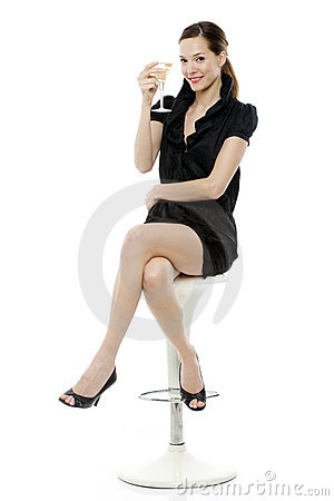Free Dressed Up Woman Drinking A Cocktail Stock Image - 16680381