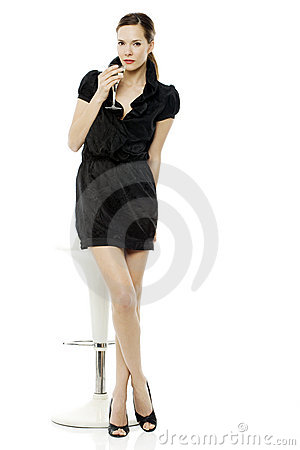 Free Dressed Up Woman Drinking A Cocktail Royalty Free Stock Photos - 16680448