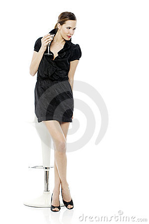 Free Dressed Up Woman Drinking A Cocktail Stock Photography - 16680452