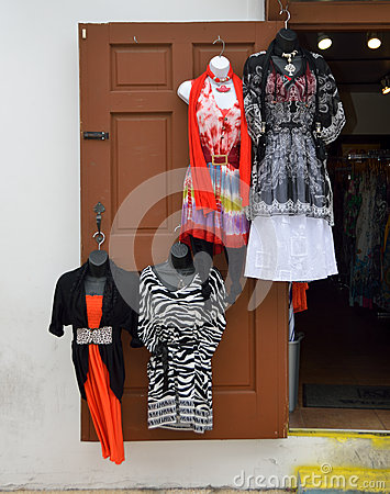 Dresses on wooden door