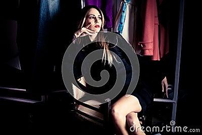In dressing room