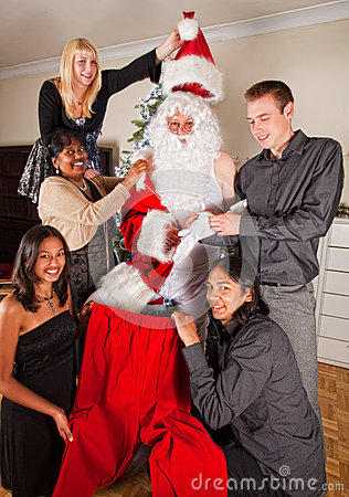 Dressing up Santa for christmas