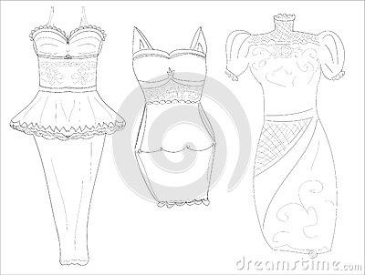 Dresssketches of stylish women s dresses pencil
