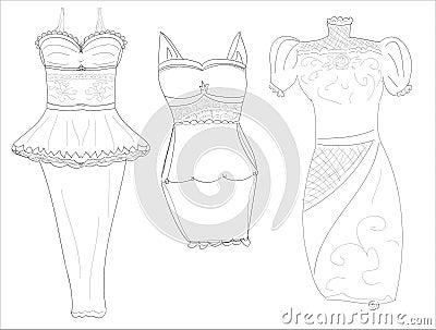 Dresssketches of stylish women s dresses pencil