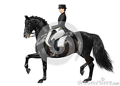 Dressuur - zwarte paard en vrouw