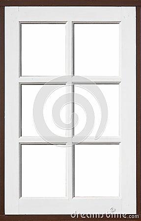 Drewniany okno z bielem i brownd kolorem