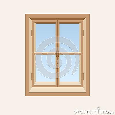 Drewniany zamknięty okno.