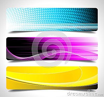 Drie abstracte vectorbannerachtergrond