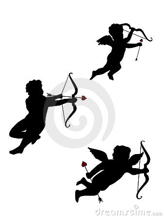 Drie geïsoleerdee Cupido s