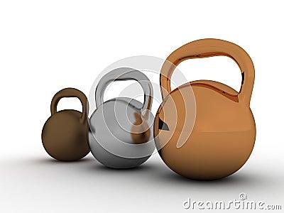 Drie gewichten worden gemaakt ââof tot brons â3