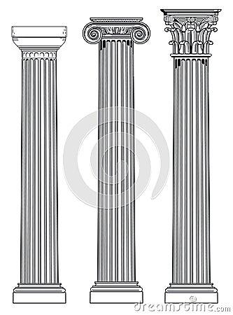 Drie Griekse kolommen
