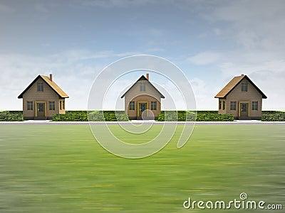 Drie huizen in gelukkige buurt