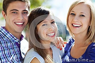 Drie jonge vrienden