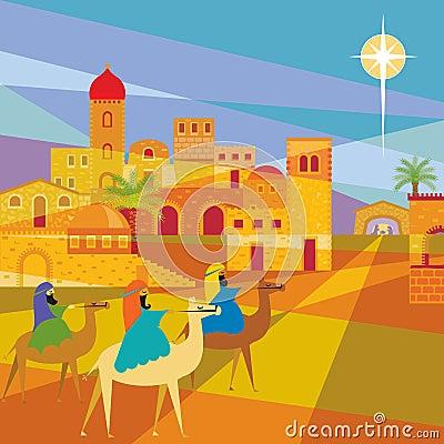 Drie Koningen die Bethlehem ingaan