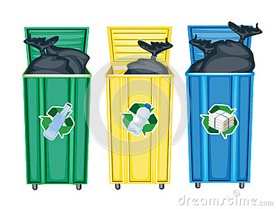 Drie vuilnisbakken