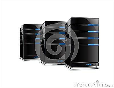 Drie zwarte computerservers