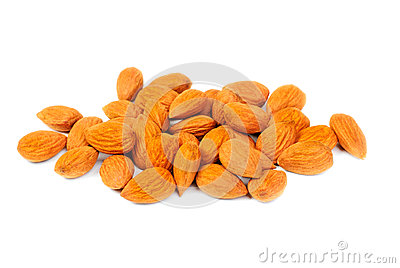 Dried almonds  isolated on a white background