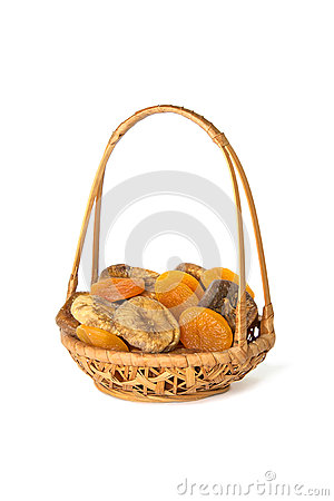 Free Dried Apricots And Figs In A Wicker Basket Isolated On White Royalty Free Stock Photo - 31189075