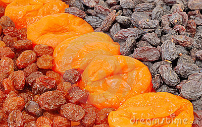 Dried apricots and raisins are two types of