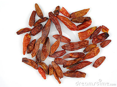 Dried birdseye chilis